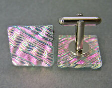 Cuff Links DICHROIC Fused GLASS Magenta Pink Ripple Striped Mens Formal Wear