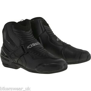 Alpinestars SMX-1 R Smx 1 Black Short Ankle Riding Motorcycle Boots - Sports