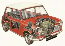 A3 Morris Mini Cooper Cutaway Drawing Wall Poster Art Picture