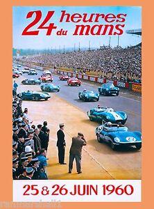1960 24 Hours Le Mans French Automobile Race Advertisement Vintage Poster 3