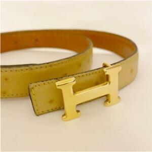 HERMES Belt Light Beige 70/85 Genuine Leather Accessory
