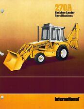 International Vintage 270A Tractor Backhoe Loader Specifications Brochure