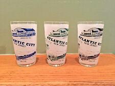 Lot of 3 Hazel Atlas Atlantic City, NJ Frosted Glasses ~Miss America ~Steel Pier