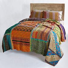 Vintage Reversible Indian Sari patchwork Handmade Kantha Quilt Bedspread- KING