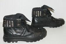 PALLADIUM  Bottines Boots Revers à Lacets Cuir Clouté Noir T 36 TTBE