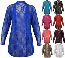 New Womens Plus Size Floral Lace Cardigan Long Sleeve Womens Waterfall Top 16-26