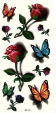 Temporary Tattoo 3D Design Butterflys and Roses Colourful Long Lasting Body Art