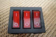 20A 110v-120v, 15A 250v Rocker Switch 3PDT ON-OFF 3-Gang Control 9 Pin Switch