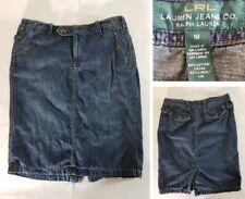10 LRL Ralph Lauren Denim Jean Skirt Slit Blue Cotton/Linen