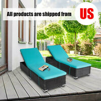 2 PCS Wicker Adjustable Pool Rattan Chaise Lounge Chair Outdoor Sofa W/ Cushion