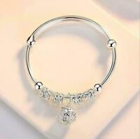 Luxury Women Jewelry 925 Silver Plated Cuff Bracelet Charm Bangle Gift Wedding