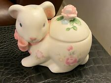 Pfaltzgraff TEA ROSE Stoneware Bunny Covered Sugar Bowl / Dish
