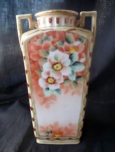 E113 ~ vintage IMPERIAL NIPPON VASE ~ delicate florals ~ hand-painted
