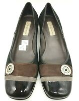 Brighton Black Brown Leather Casual Low Heel Button Flats Shoes Women's 8.5 M