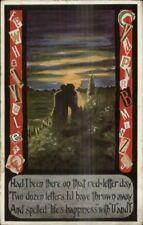 Cobb Shinn? Romance in Moonlight Cut Out Letters Message Border Postcard