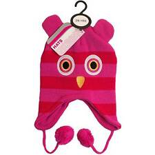 Girls Novelty Cute Owl Hat Knitted Drop Eared With Pom Poms One Size 2-6 Yrs