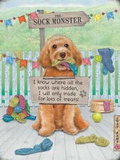 Sock Monster Cockerpoo Labradoodle Puppy Dog Garden Medium Metal/Steel Wall Sign
