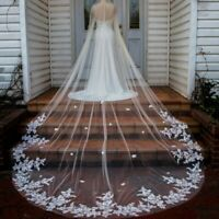 White Ivory Champagne Wedding Veil Cathedral Length Bridal Accessories with Comb