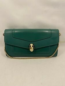 Authentic BVLGARI Serpenti Forever Emerald Green Wallet on a Chain Crossbody Bag