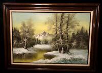 Original Hanrey Landscape Oil Painting Indigenous Native American Artist Framed