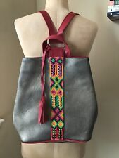 CRISTINA OROZCO Leather Backpack Pewter/Red Embroidered Details Pre-Loved