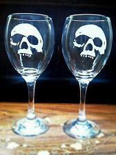Personalised Glass Engraved Skull Wine Glasses Custom Gifts Birthday 21st 18th