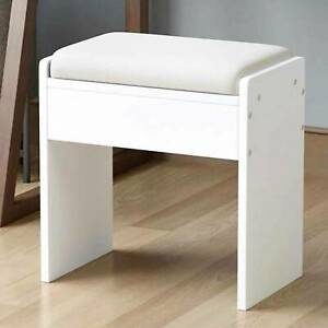 Wooden Dressing Table Stool Vintage Soft Cushioned Seat Makeup PU Bench Chair