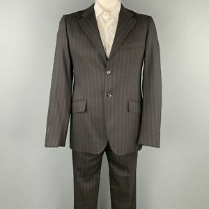 MOSCHINO Size US 42 / IT 52 Regular Black Stripe Wool Blend Notch Lapel Suit