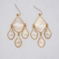 Premier Designs jewelry elegant gold tone hoop drop dangle earrings enamel