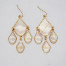 Premier Designs jewelry elegant gold tone hoop drop dangle earrings enamel