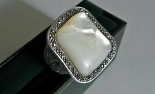 Huge Art Deco Vintage Mother of Pearl & Marcasite Silver Statement Ring - Size O