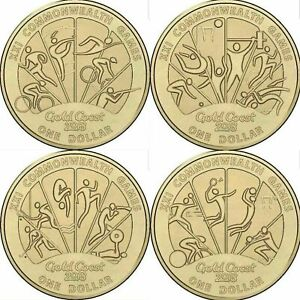 2018 X4 $1 DOLLAR COINS EX COMMONWEALTH GAMES SET BRILLIANT UNCIRCULATED LUSTRE!