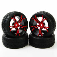 4Pcs 1/10 RC Tires and Wheels Rims Flat For On Road Racing Run Car Rubber