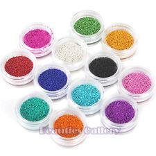 Nuevo 12 Colores Arte en Uñas Decoración Mini Micro Bola Cuentas 3D para Acrílico UV Gel