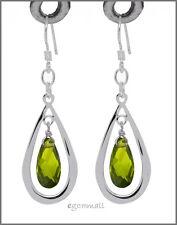 925 Silver Drop Earring 26mm w/ CZ Olive Green #65092