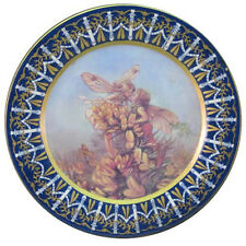 PLATE/CHARGER 36CM VICTORIA WARE IRONSTONE HAND GILDED BLUE BORDER FLOWER FAIRY