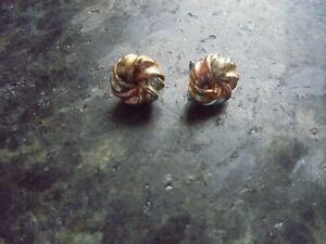9 CT GOLD EARRINGS YELLOW WHITE ROSE TWIST WITH BUTTERFLY FASTENING 1.14 GRAMMES