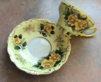 Vintage Hand Painted 3 Footed Yellow Rose Teacup And Saucer
