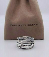 David Yurman Sterling Silver 925 Crossover Wide Ring with Pave Diamonds Size 7