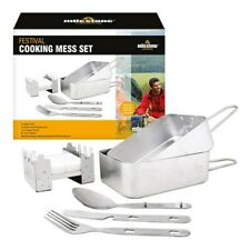 Camping /  Festival Cooking Mess Set  2 tins and 1 knife, fork and spoon