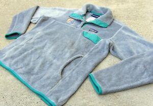 PATAGONIA Re-Tool Snap-T Pullover fleece Jacket w logo women's Sz Small Gray