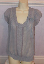 New  Ladies grey spotted chiffon cap sleeve top Size 12