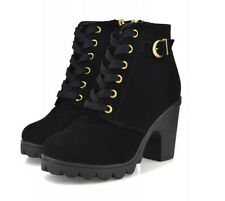 Women Fashion High Heels Lace Up Ankle Boots Zipper Buckle Platform Martin Shoes