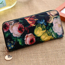 Black Vintage Style Floral Clutch Purse Wallet - Flower Design Retro Zip Around