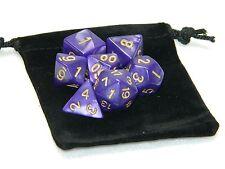 Wiz Dice 7 Die Polyhedral Set Lucid Dreams Purple RPG DnD Dice With Dice Bag