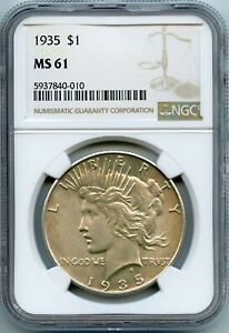 1935 $1 PEACE SILVER DOLLAR NGC MS61 (#49a 10/24 GP)