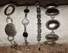 Mixed Metal Silver-tone/Beaded/ Stone Bracelets Vintage Assorted Lot of 4