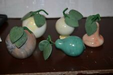 Vintage LOT of Five (5)  STONE Marble Assorted FRUITS