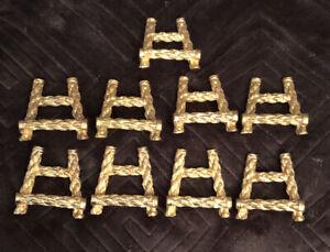 Vtg.Set 9 Gold Gilt Rope Design Metal Place Card Holder Easel~ Hollywood Regency