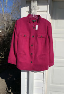 NWT Talbots Beautifully Made Magenta Wool Pockets On Front Lined Blazer 18W 2X